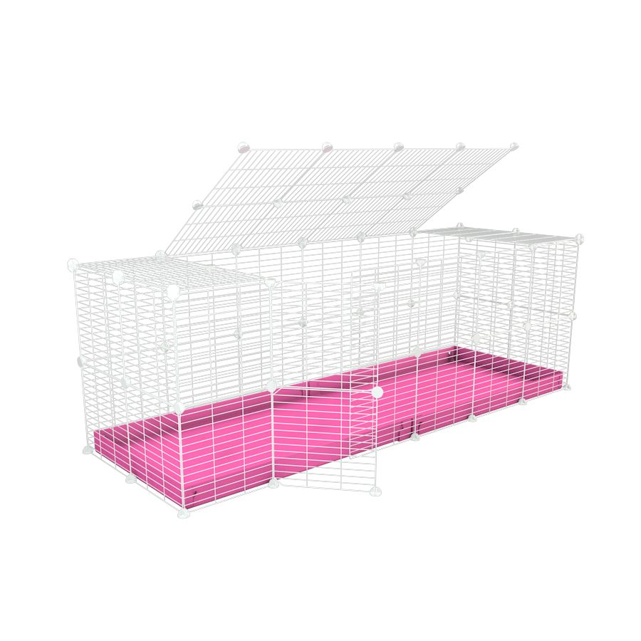A 6x2 C and C rabbit cage with a top and safe small size baby proof white C and C grids and pink coroplast by kavee UK