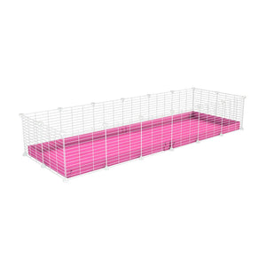 A cheap 6x2 C&C cage for guinea pig with pink coroplast and baby proof white grids from brand kavee