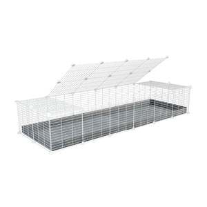 A 2x6 C and C cage for guinea pigs with grey coroplast a lid and small hole white C and C grids from brand kavee