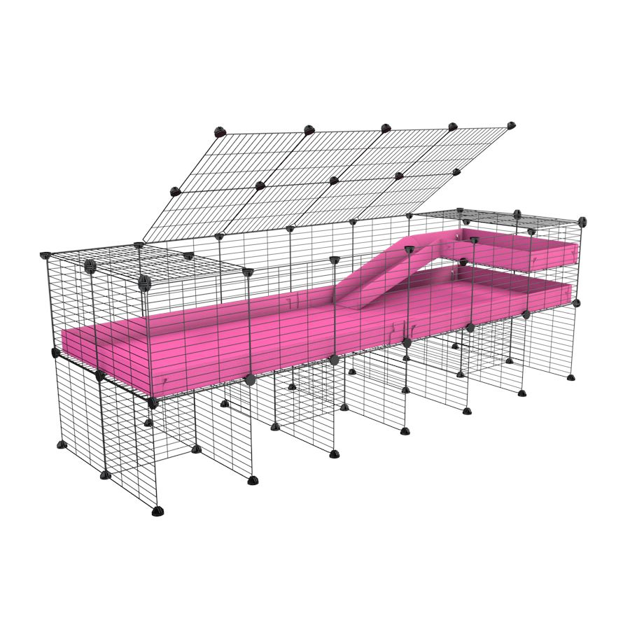 A 2x6 C and C guinea pig cage with stand loft ramp lid small size meshing safe grids pink correx sold in UK
