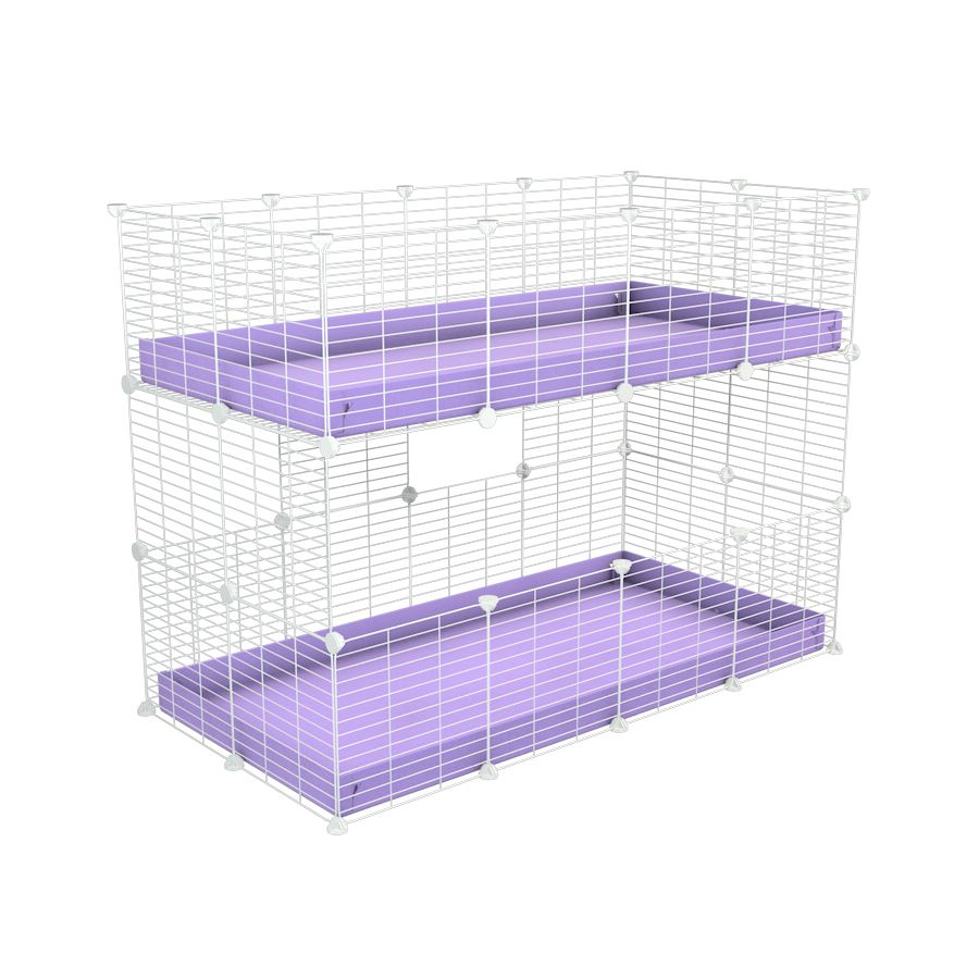 A 4x2 double stacked c and c guinea pig cage with two stories lilac pastel coroplast safe size white grids by brand kavee