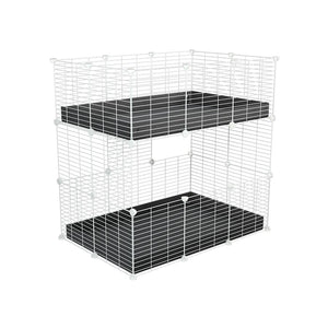 A two tier 3x2 c&c cage for guinea pigs with two levels black correx baby safe white grids by brand kavee in the uk