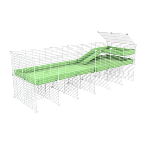 a 6x2 CC guinea pig cage with stand loft ramp small mesh white grids green pastel pistacchio corroplast by brand kavee