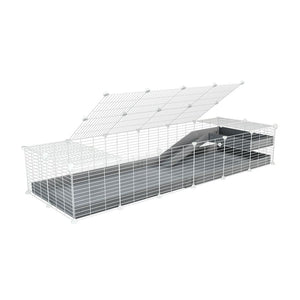 a 2x6 C and C guinea pig cage with loft ramp lid small hole size white C&C grids grey coroplast kavee