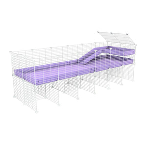 a 6x2 CC guinea pig cage with stand loft ramp small mesh white grids purple lilac pastel corroplast by brand kavee