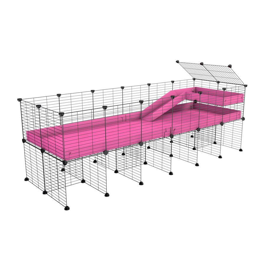 a 6x2 CC guinea pig cage with stand loft ramp small mesh grids pink corroplast by brand kavee