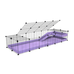 a 2x6 C and C guinea pig cage with loft ramp lid small hole size grids purple lilac pastel coroplast kavee