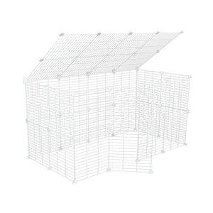 a tall 4x2 outdoor modular playpen with a lid and small hole safe C and C white grids for guinea pigs or Rabbits