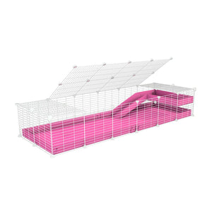 a 2x6 C and C guinea pig cage with loft ramp lid small hole size white grids pink coroplast kavee