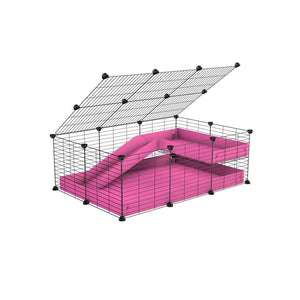 a 2x3 C and C guinea pig cage with loft ramp lid small hole size grids pink coroplast kavee