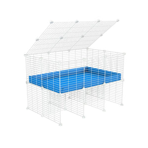 a 3x2 C&C cage for guinea pigs with a stand and a top blue plastic safe white C and C grids by kavee