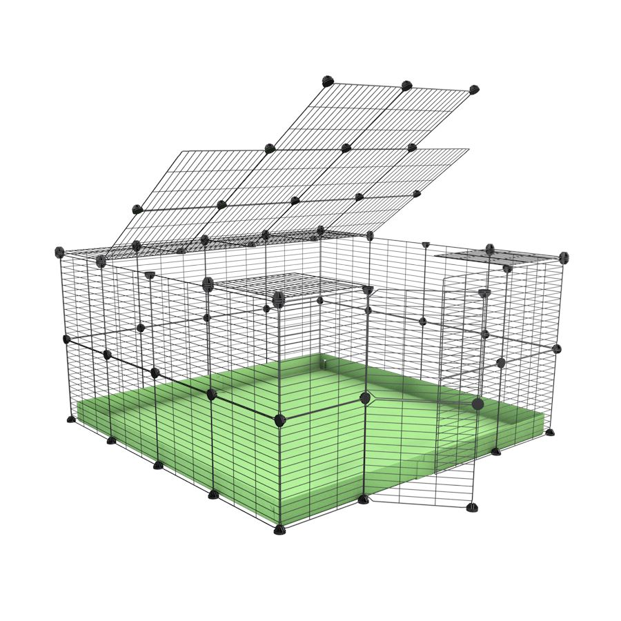 A 4x4 C&C rabbit cage with top and safe small mesh grids green pistacchio coroplast by kavee UK
