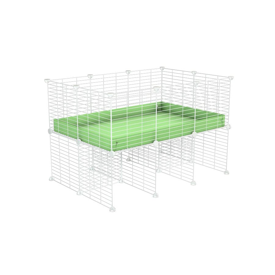 a 3x2 CC cage for guinea pigs with a stand green pastel pistacchio correx and 9x9 white grids sold in Uk by kavee