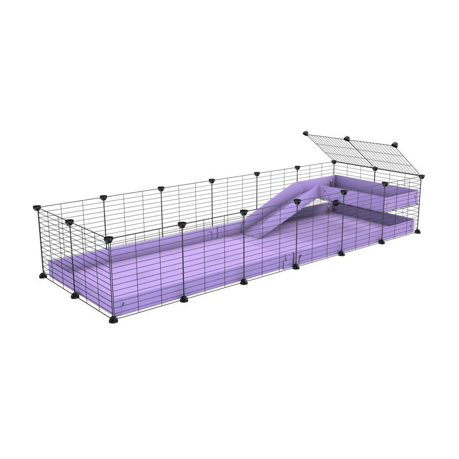 a 6x2 C&C guinea pig cage with a loft and a ramp purple lilac pastel coroplast sheet and baby bars by kavee