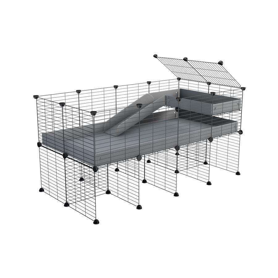 a 4x2 CC guinea pig cage with stand loft ramp small mesh grids grey corroplast by brand kavee