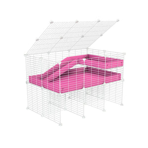 A 2x3 C and C guinea pig cage with stand loft ramp lid small size meshing safe white C&C grids pink correx sold in UK