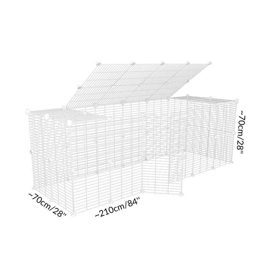Dimensions of a tall 6x2 outdoor modular run with a top and baby bars safe C&C white C and C grids for guinea pigs or Rabbits by brand kavee