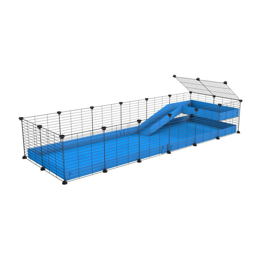 a 6x2 C&C guinea pig cage with a loft and a ramp blue coroplast sheet and baby bars by kavee