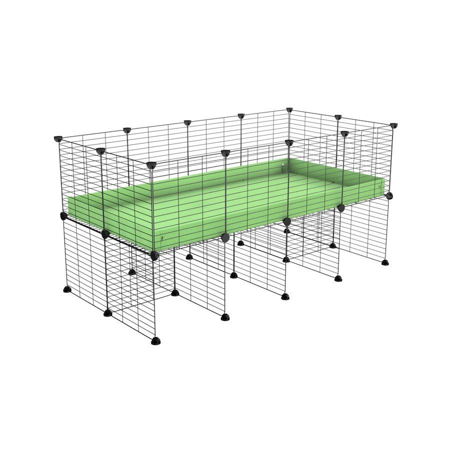 a 4x2 CC cage for guinea pigs with a stand green pastel pistacchio correx and 9x9 grids sold in Uk by kavee