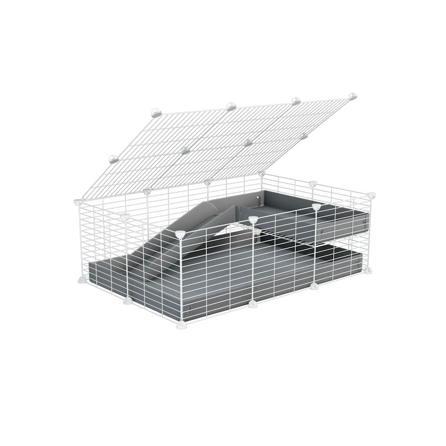 a 2x3 C and C guinea pig cage with loft ramp lid small hole size white CC grids grey coroplast kavee