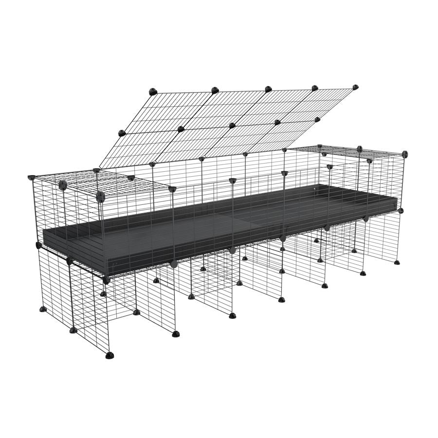 a 6x2 C&C cage for guinea pigs with a stand and a top black plastic safe grids by kavee