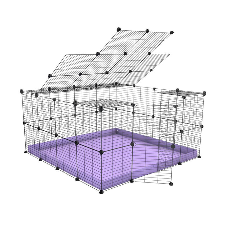 A 4x4 C&C rabbit cage with top and safe small meshing baby bars grids and purple coroplast by kavee UK