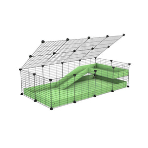a 2x4 C and C guinea pig cage with loft ramp lid small hole size grids green pastel pistacchio coroplast kavee