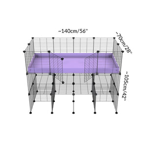 Dimension for a tall 4x2 C&C guinea pigs cage with a double stand purple coroplast and safe small hole grids sold in Uk by kavee