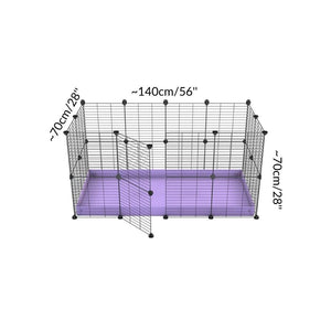 Dimensions of A 4x2 C&C rabbit cage with safe small meshing baby bars grids and purple coroplast by kavee UK