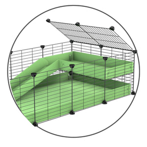 A kit containing a green coroplast ramp and 2x1 loft and small hole size safe C&C grids by kavee uk