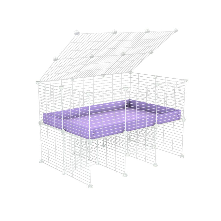 a 3x2 C&C cage for guinea pigs with a stand and a top purple lilac pastel plastic safe white grids by kavee