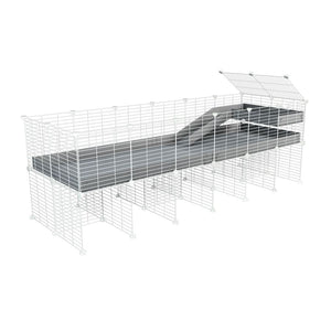 a 6x2 CC guinea pig cage with stand loft ramp small mesh white C and C grids grey corroplast by brand kavee