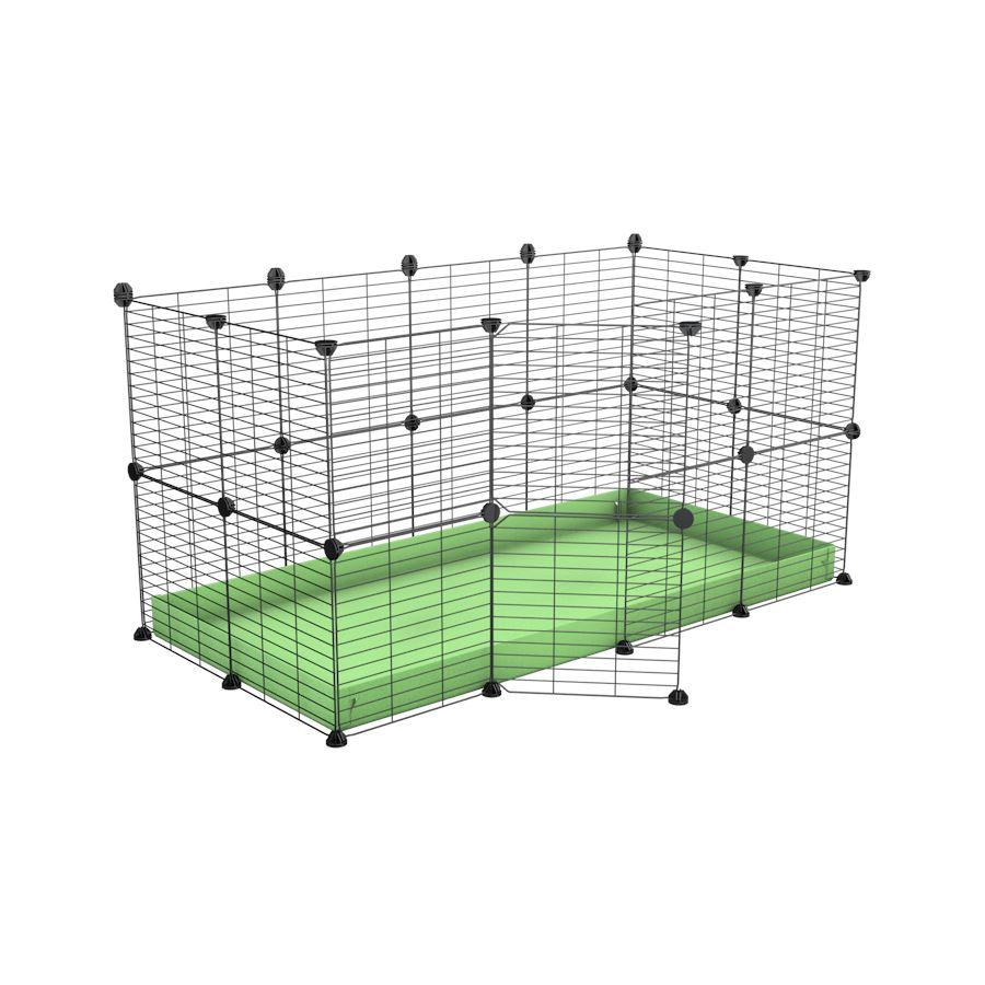 A 4x2 C&C rabbit cage with safe baby bars grids green pastel coroplast by kavee UK