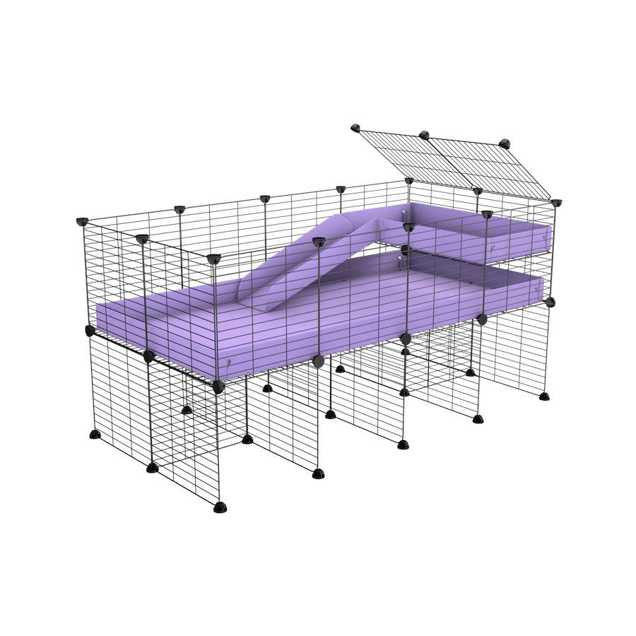 a 4x2 CC guinea pig cage with stand loft ramp small mesh grids purple lilac pastel corroplast by brand kavee