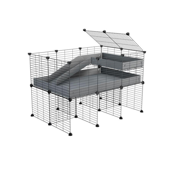 a 3x2 CC guinea pig cage with stand loft ramp small mesh grids grey corroplast by brand kavee