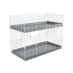A 4x2 double stacked c and c guinea pig cage with two stories grey coroplast safe size white CC grids by brand kavee