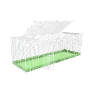 A 6x2 C and C rabbit cage with a top and safe small size baby proof white C and C grids and green coroplast by kavee UK