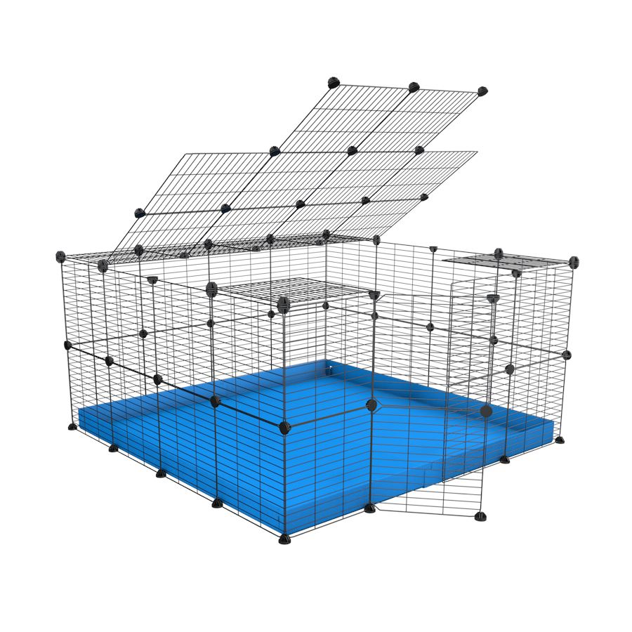 A 4x4 C&C rabbit cage with top and safe baby bars grids blue coroplast by kavee UK