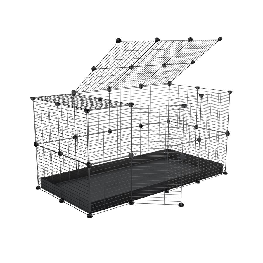 A 4x2 C&C rabbit cage with top and safe baby bars grids black coroplast by kavee UK