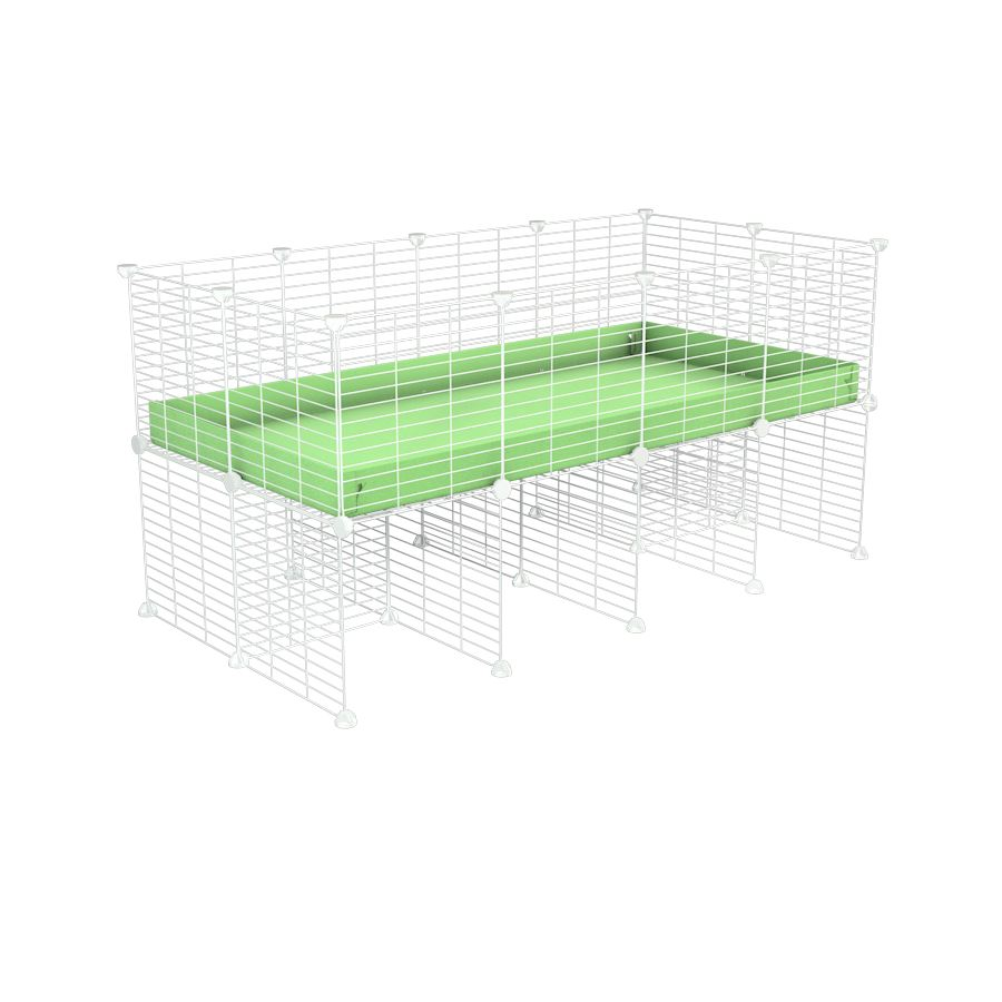 a 4x2 CC cage for guinea pigs with a stand green pastel pistacchio correx and 9x9 white C&C grids sold in Uk by kavee