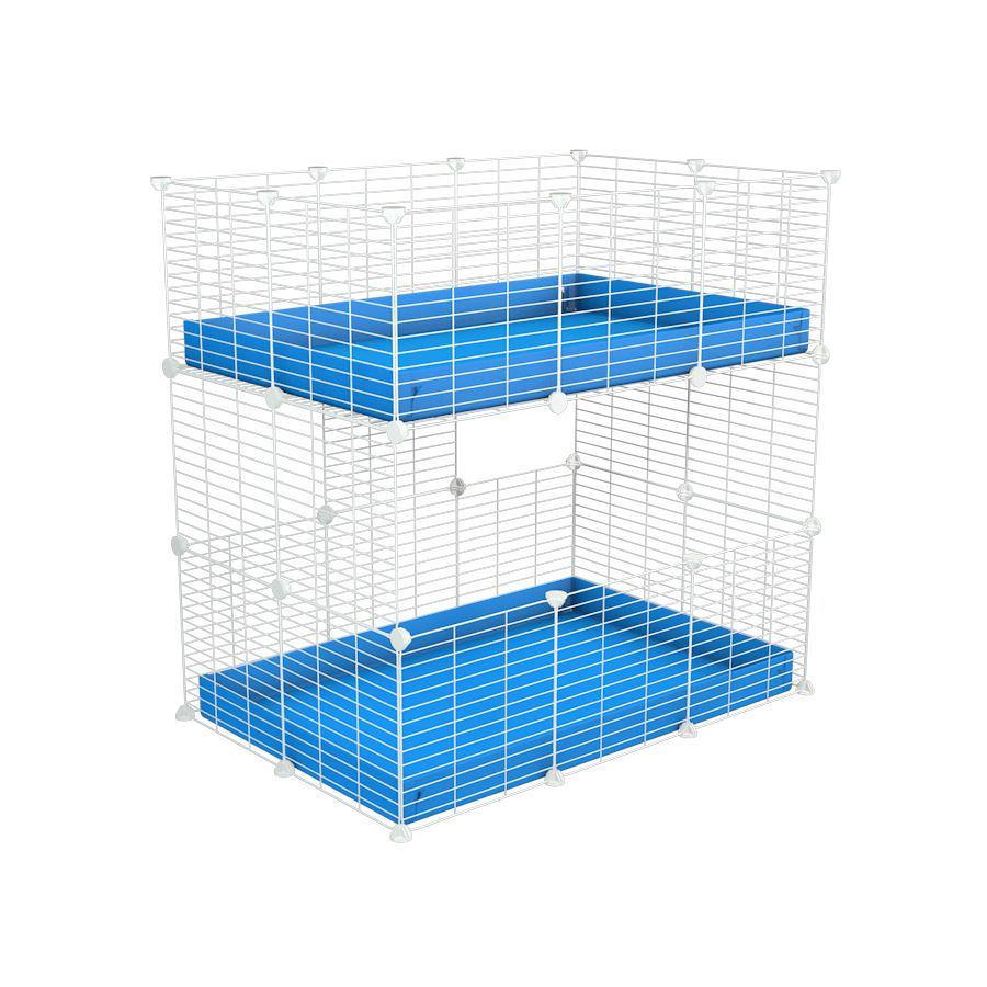 A two tier 3x2 c&c cage for guinea pigs with two levels blue correx baby safe white C&C grids by brand kavee in the uk