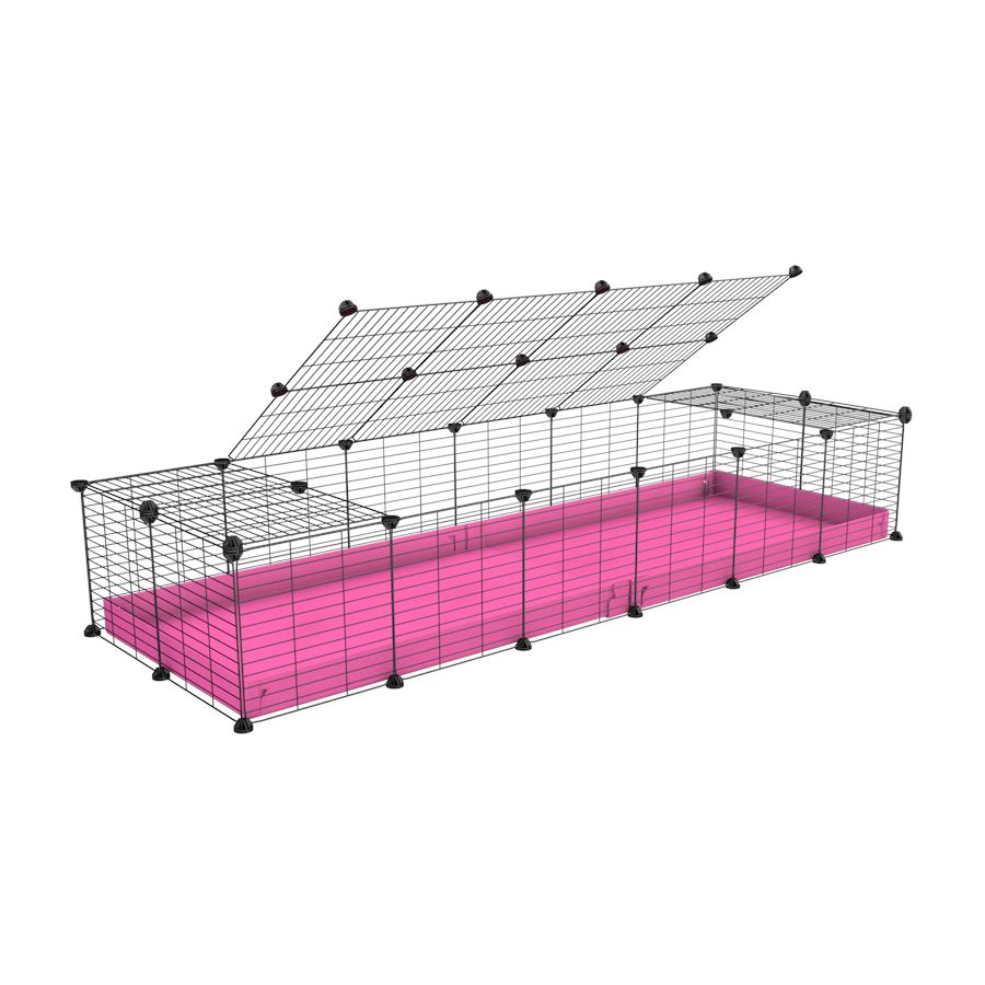 A 2x6 C and C cage for guinea pigs with pink coroplast a lid and small hole grids from brand kavee