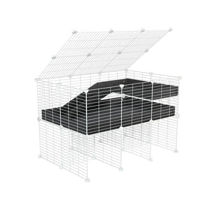 A 2x3 C and C guinea pig cage with stand loft ramp lid small size meshing safe white C&C grids black correx sold in UK