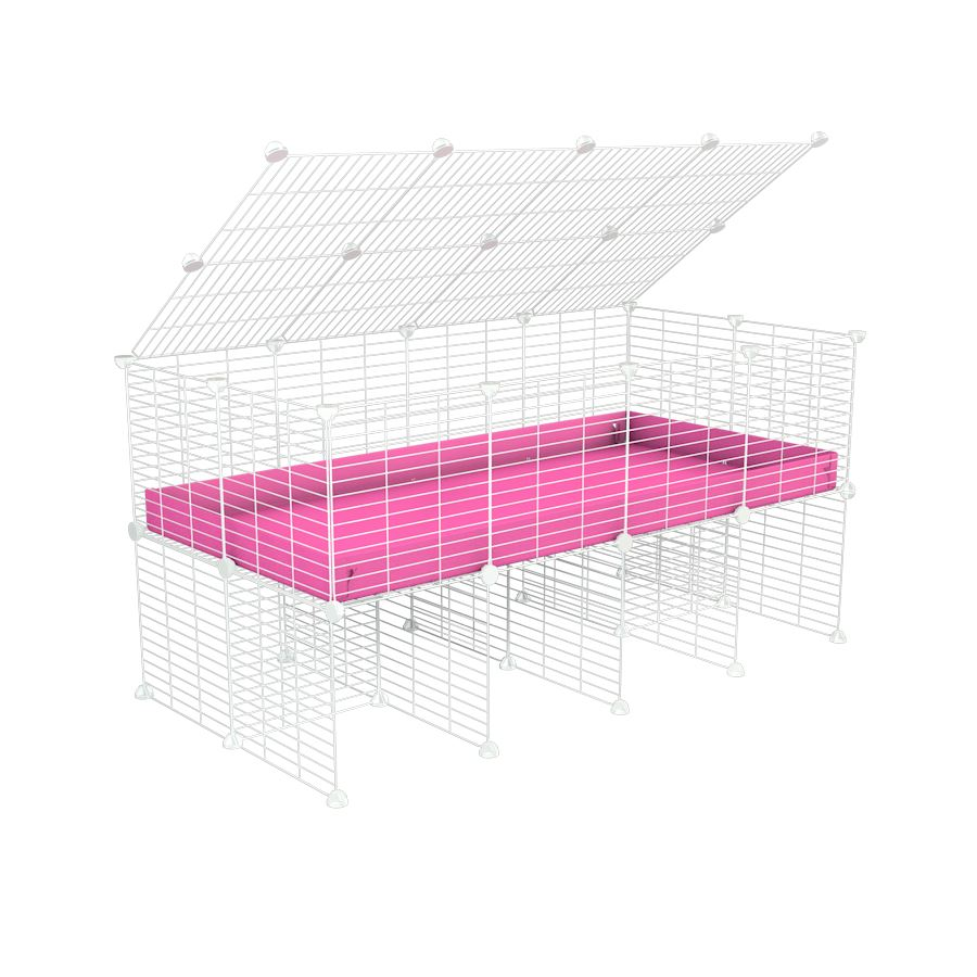 a 4x2 C&C cage for guinea pigs with a stand and a top pink plastic safe white C&C grids by kavee