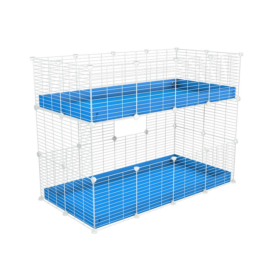 A 4x2 double stacked c and c guinea pig cage with two stories blue coroplast safe size white grids by brand kavee