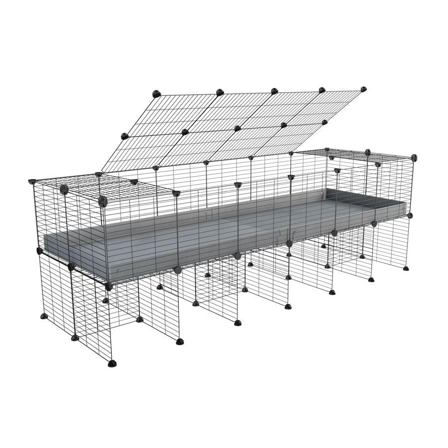a 6x2 C&C cage for guinea pigs with a stand and a top grey plastic safe grids by kavee