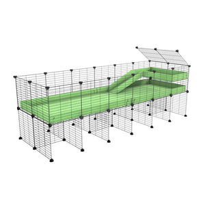 a 6x2 CC guinea pig cage with stand loft ramp small mesh grids green pastel pistacchio corroplast by brand kavee