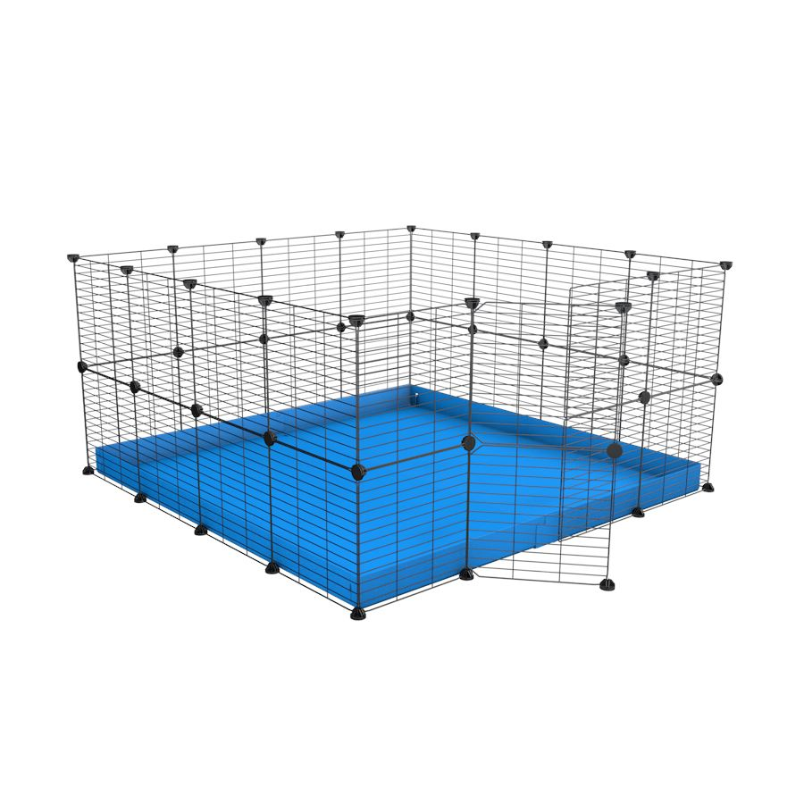 A 4x4 C&C rabbit cage with safe baby bars grids and blue coroplast by kavee UK