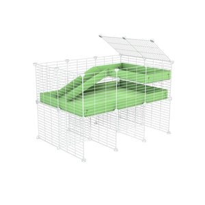 a 3x2 CC guinea pig cage with stand loft ramp small mesh white C&C grids green pastel pistachio corroplast by brand kavee