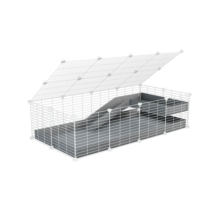 a 2x4 C and C guinea pig cage with loft ramp lid small hole size white CC grids grey coroplast kavee
